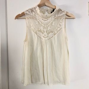Cream lace mock neck blouse